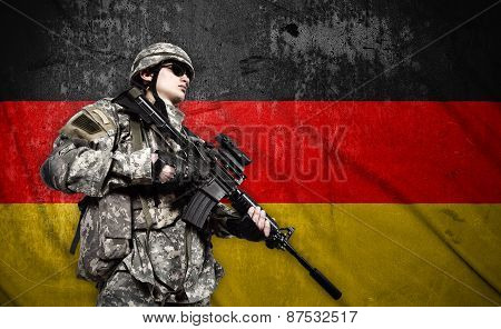 Soldier On Germany  Flag Background