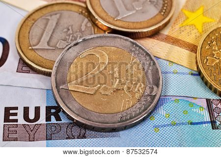 Euro Banknote And Coins