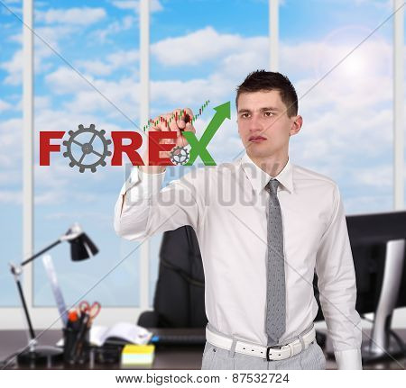 Businessman Drawing Forex Symbol