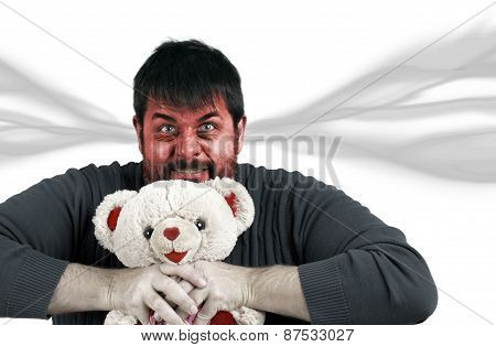Very Angry Man With Teddy Bear