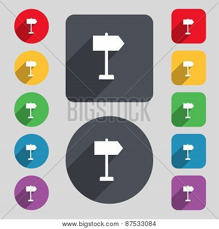 Signpost Icon Sign. A Set Of 12 Colored Buttons And A Long Shadow. Flat Design. Vector