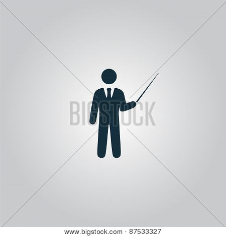 Man standing with pointer icon.