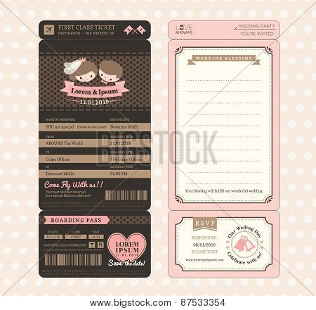 Cute Groom And Bride Vintage Boarding Pass Ticket Wedding Invitation Template Vector