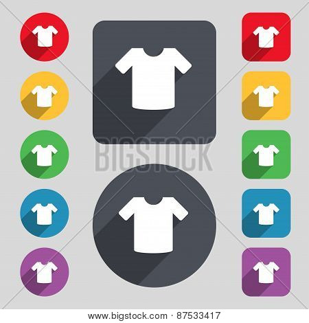 T-shirt, Clothes Icon Sign. A Set Of 12 Colored Buttons And A Long Shadow. Flat Design. Vector