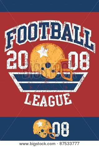 Distressed Football League Poster With Helmet