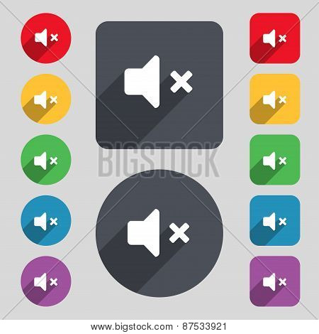 Mute Speaker , Sound Icon Sign. A Set Of 12 Colored Buttons And A Long Shadow. Flat Design. Vector