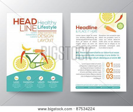 Bicycle Illustration Made From Vegetables Healthy Lifestyle Concept Brochure Flyer Design Layout