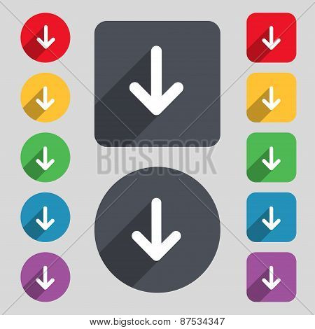 Arrow Down, Download, Load, Backup Icon Sign. A Set Of 12 Colored Buttons And A Long Shadow. Flat De