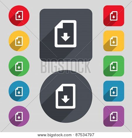 Import, Download File Icon Sign. A Set Of 12 Colored Buttons And A Long Shadow. Flat Design. Vector