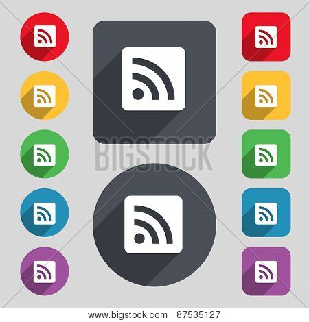 Rss Feed Icon Sign. A Set Of 12 Colored Buttons And A Long Shadow. Flat Design. Vector