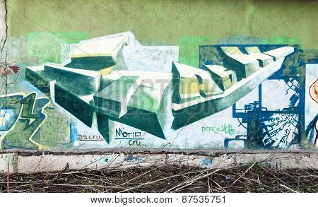 Graffiti Fragment With Colorful Chaotic Elements