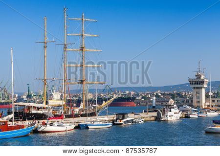 Big Sailing Ship And Pleasure Boats In Port Of Varna