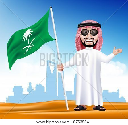 3D Handsome Saudi Arab Man in Traditional Dress With Shades