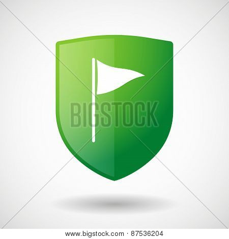 Shield Icon With A Golf Flag
