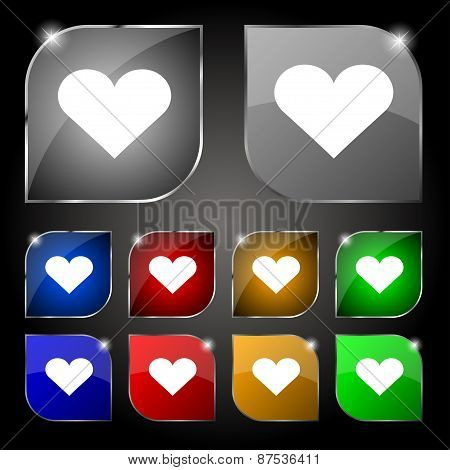 Heart, Love Icon Sign. Set Of Ten Colorful Buttons With Glare. Vector