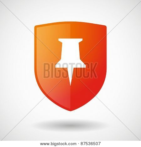 Shield Icon With A Push Pin