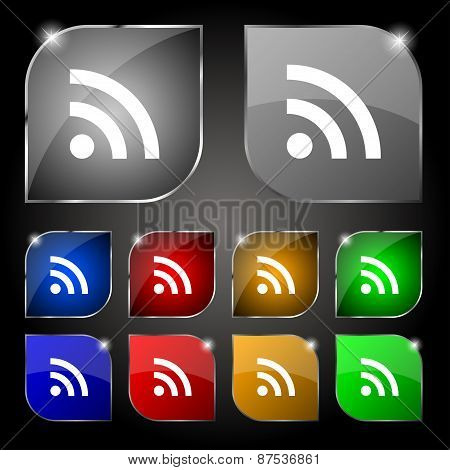 Wifi, Wi-fi, Wireless Network Icon Sign. Set Of Ten Colorful Buttons With Glare. Vector