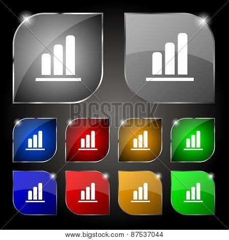 Growth And Development Concept. Graph Of Rate Icon Sign. Set Of Ten Colorful Buttons With Glare. Vec