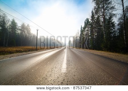 empty road at mist