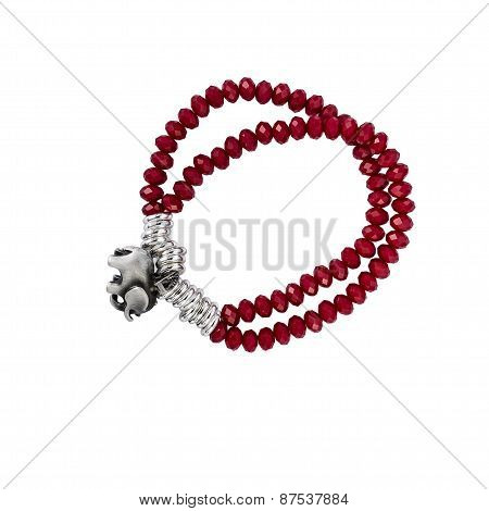 Red Crystal bracelet isolated on white background