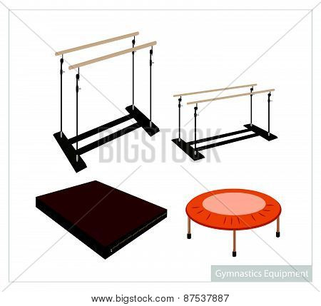 Set Of Gymnastics Equipment On White Background