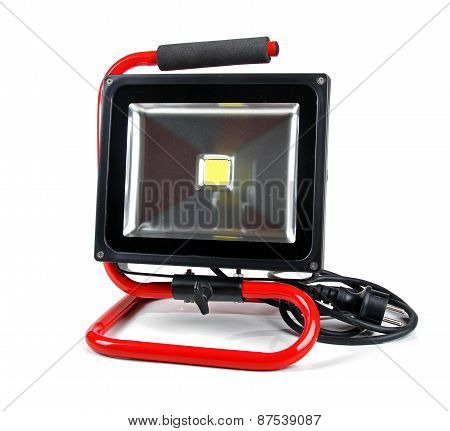 Led Floodlight With Stand Isolated On White Background