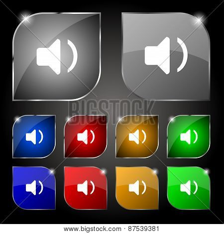 Speaker Volume, Sound Icon Sign. Set Of Ten Colorful Buttons With Glare. Vector
