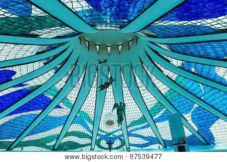 BRASILIA, BRAZIL - CIRCA MARCH 2015: Cathedral of Brasilia in Brasilia, Brazil. It was designed by Oscar Niemeyer, and was completed and dedicated on May 31, 1970.