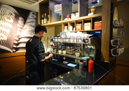 SHENZHEN, CHINA - FEBRUARY 16, 2015: Costa Coffee cafe interior. Costa Coffee is a British multinational coffeehouse company headquartered in Dunstable, United Kingdom.