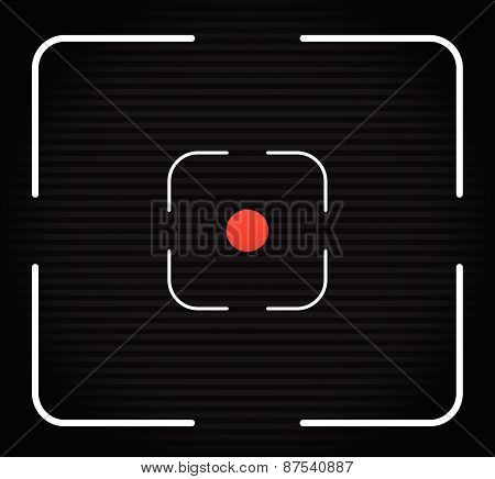Striped Background With Thin Lines And Target Mark, Cross Hair. Red Dot At Center.