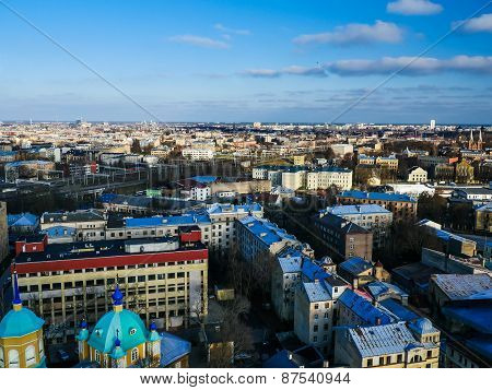 Panorama Of Riga From One The Buildings