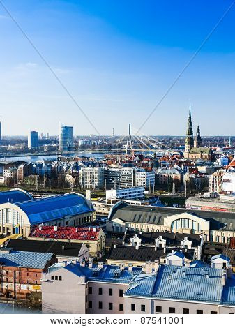 Riga, Latvia - Panorama Of The Old Town In Riga.