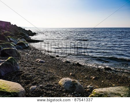 Bech And Stone Near The Ocean