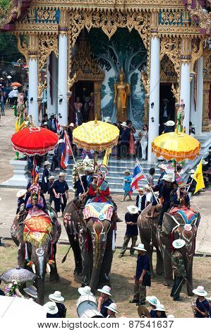Si Satchanalai Elephant Back Ordination Procession.