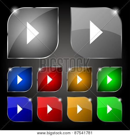 Play Button Icon Sign. Set Of Ten Colorful Buttons With Glare. Vector