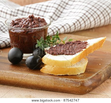 olive tapenade of black olives with herbs and spices