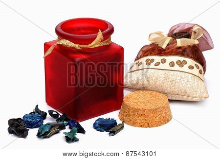 Sachet - aromatic herbs in different packages on a white background