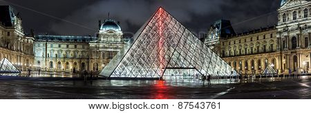 Panoramic night view of the Louvre Museum
