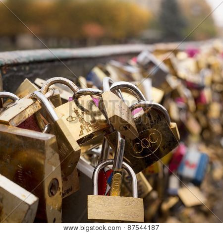 Love Padlocks Close Up Symbolize Love Forever. Paris