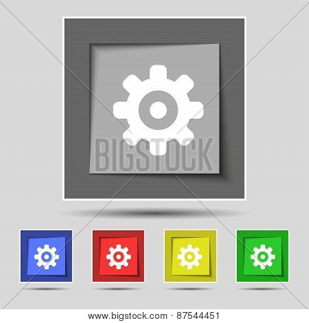 Cog Settings, Cogwheel Gear Mechanism Icon Sign On The Original Five Colored Buttons. Vector