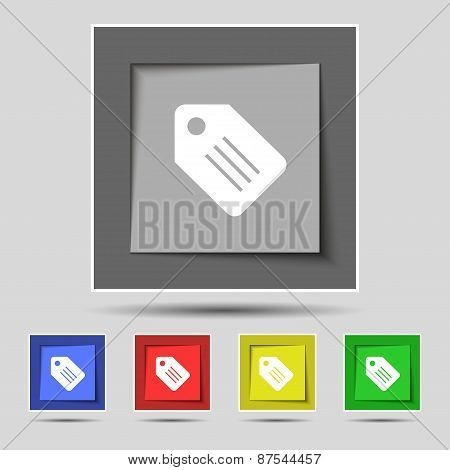 Special Offer Label Icon Sign On The Original Five Colored Buttons. Vector