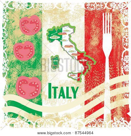 Italy Travel Grunge Card With National Italian Food