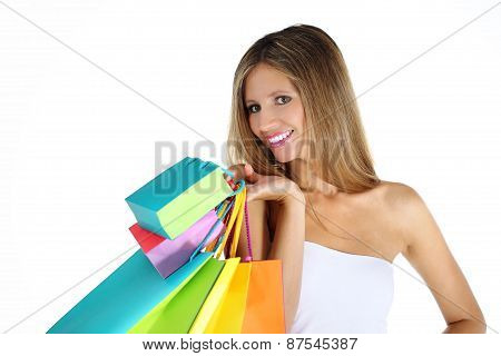 Joyful Woman Makes Shopping