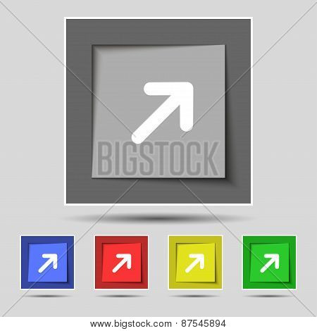 Arrow Expand Full Screen Scale Icon Sign On The Original Five Colored Buttons. Vector