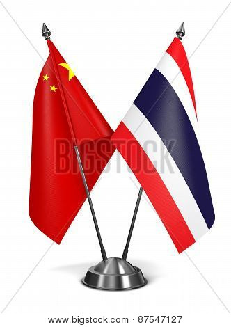 China and Thailand - Miniature Flags.
