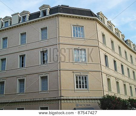 Beaulieu-sur-Mer, France - August 27, 2014: hotel Victoria on the street Maifret Marius