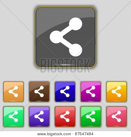 Share Icon Sign. Set With Eleven Colored Buttons For Your Site. Vector