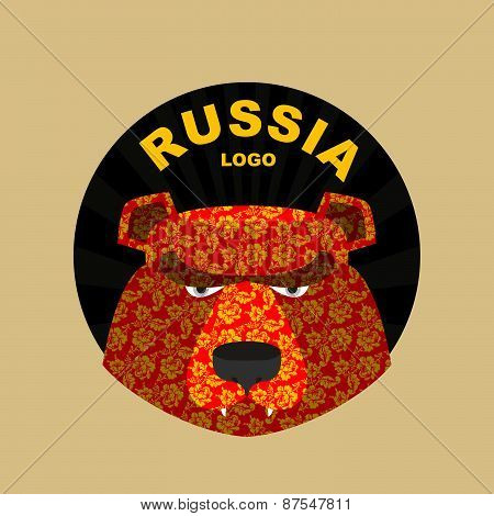 bear  logo of Russia. Traditional Russian ornament khokhloma.