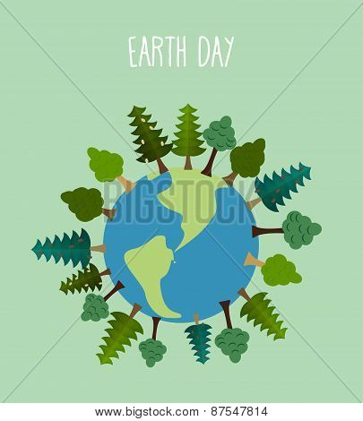earth day. Earth with trees.   Vector geometric trees and grass silhouettes