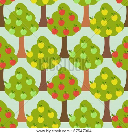 Seamless forest pattern. Cartoon tree background